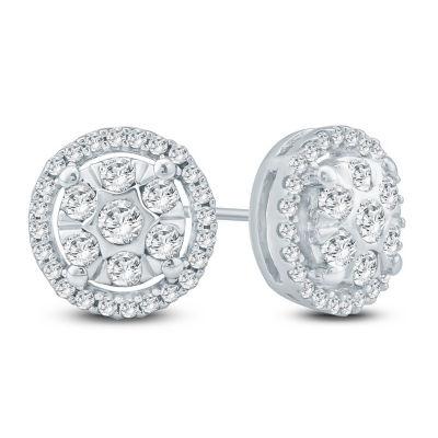 1/2 CT. T.W. White Diamond 10K Gold 8.9mm Stud Earrings