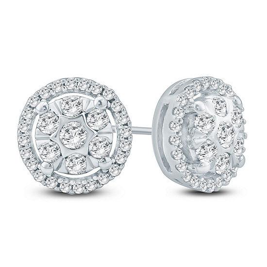 1/2 CT. T.W. Genuine White Diamond 10K Gold 8.9mm Stud Earrings