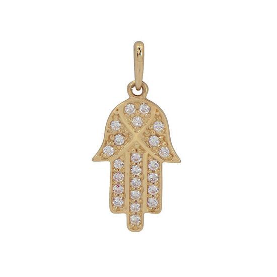 Hamsa Womens White Cubic Zirconia 10K Gold Pendant