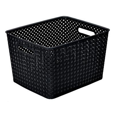 Resin Wicker Storage Tote Black-Large 13.75 X 11.50 X 8.75- Basket Weave