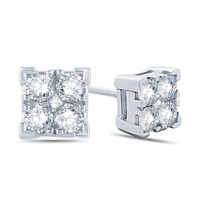 1/2 CT. T.W. White Diamond 10K Gold 13.9mm Stud Earrings