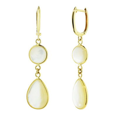 Genuine White Mother Of Pearl 14K Gold Drop Earrings