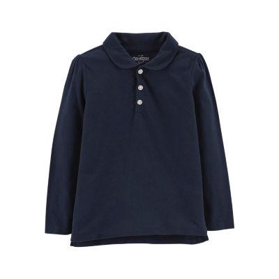 Oshkosh Long Sleeve Knit Polo Shirt - Toddler Girls