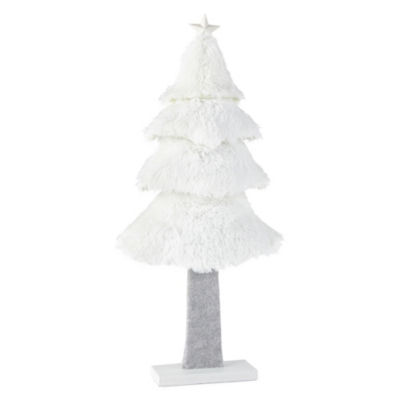 North Pole Trading Co. 20 Inch White Fluffy Tabletop Tree