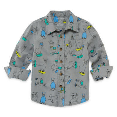 Okie Dokie Print Long Sleeve Button-Front Shirt-Toddler Boys