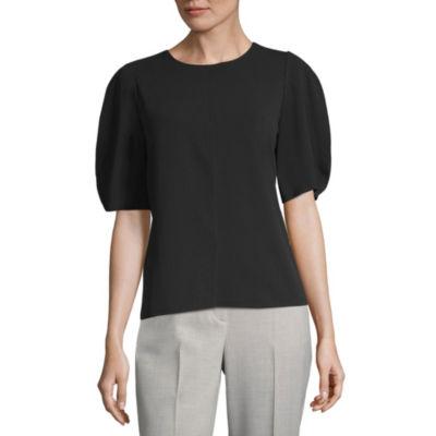 Worthington Short Sleeve Round Neck Knit Blouse