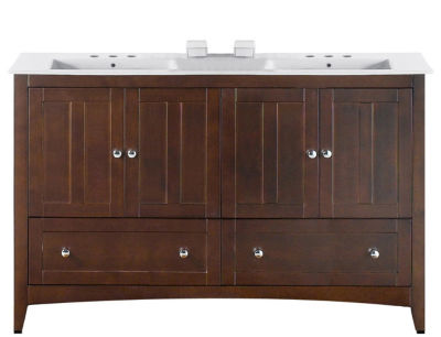 59-in. W Floor Mount Walnut Vanity Set For 3H8-in.Drilling
