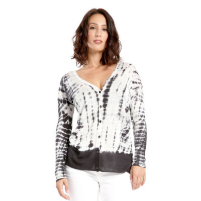 Women's Hacci Knit Tie Dye Button Up Cardigan with Pocketes Linen