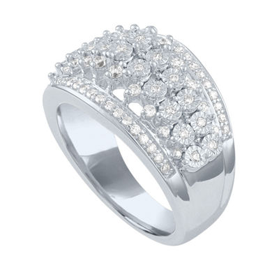 Womens 1/2 CT. T.W. Genuine White Diamond Sterling Silver Crossover Cocktail Ring
