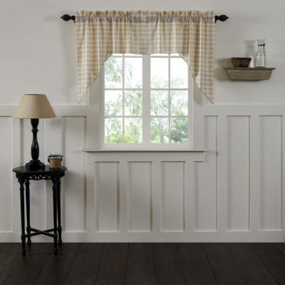 Farmhouse Window Annie Buffalo Check Lined Swag Pair
