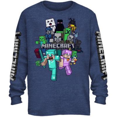 Boys Crew Neck Long Sleeve Minecraft Graphic T-Shirt Preschool / Big Kid