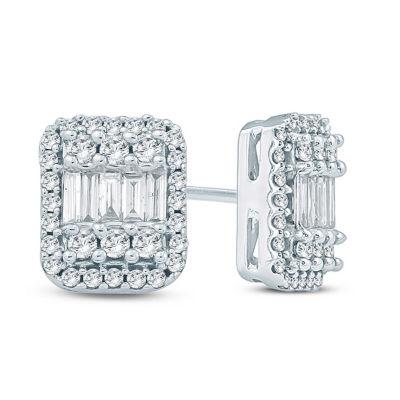1/2 CT. T.W. White Diamond 10K Gold 7.1mm Stud Earrings