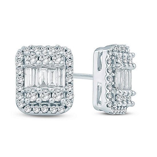 1/2 CT. T.W. Genuine White Diamond 10K Gold 7.1mm Stud Earrings
