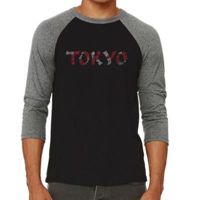 Los Angeles Pop Art Men's Big & Tall Raglan Baseball Word Art T-shirt - THE NEIGHBORHOODS OF TOKYO