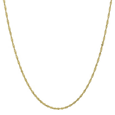 10K Gold 16 Inch Solid Singapore Chain Necklace