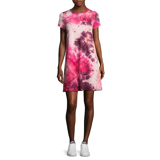 Wallflower Short Sleeve Tie Dye T-Shirt Dresses - Juniors