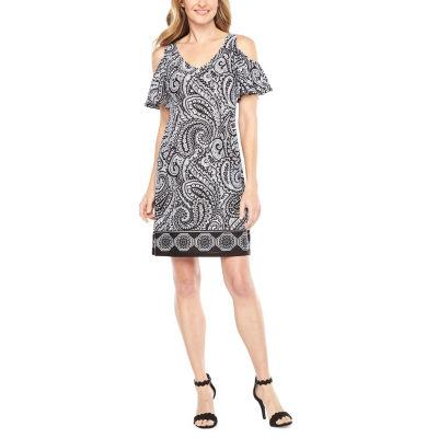MSK Short Sleeve Cold Shoudler Paisley A-Line Dress