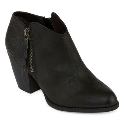 Pop Womens Balboa Booties Stacked Heel Zip