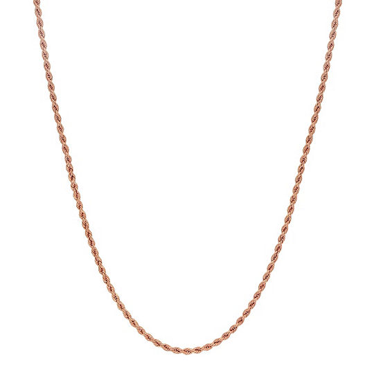 Made In Italy 14K Rose Gold Hollow Rope 18 Inch Chain Necklace