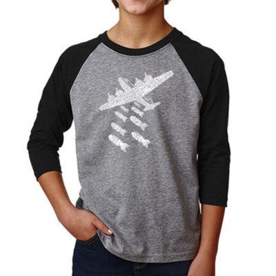 Los Angeles Pop Art Boy's Raglan Baseball Word Art T-shirt - DROP BEATS NOT BOMBS