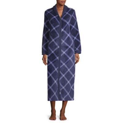 Spencer Womens Fleece Robe Long Sleeve Long Length