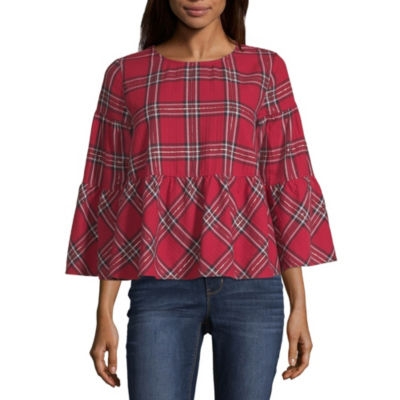Peyton & Parker 3/4 Sleeve Round Neck Woven Blouse