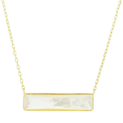 Womens Genuine White Mother Of Pearl 14K Gold Pendant Necklace