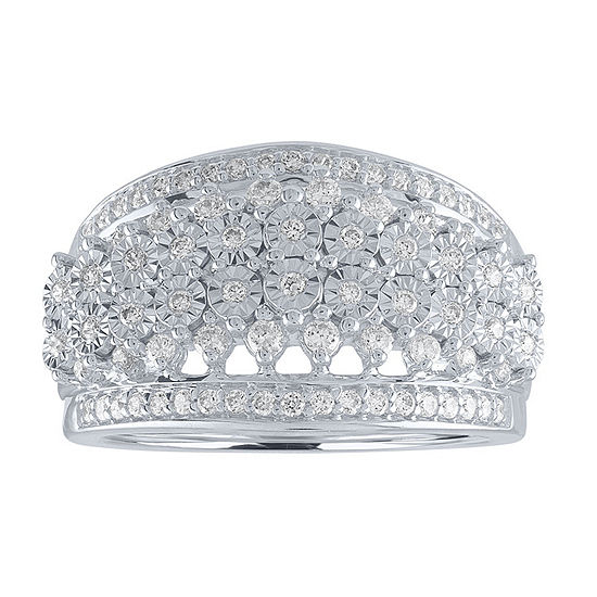 Womens 1/2 CT. T.W. Genuine White Diamond Crossover Cocktail Ring