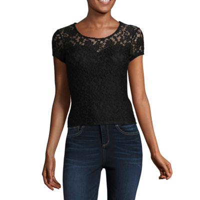 Almost Famous Short Sleeve Round Neck Lace Blouse-Juniors
