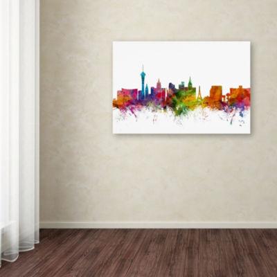 Trademark Fine Art Michael Tompsett Las Vegas Nevada Skyline Giclee Canvas Art