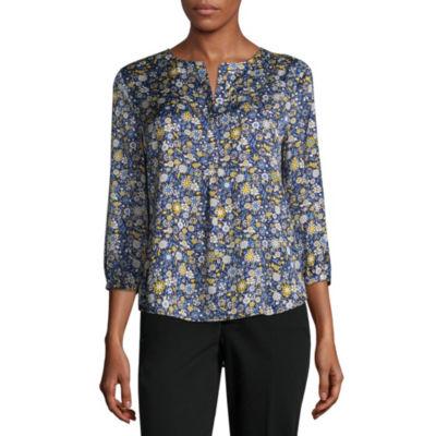 Liz Claiborne 3/4 Sleeve Popover - Tall