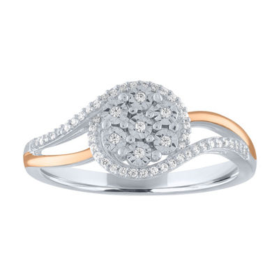 Womens 1/10 CT. T.W. Genuine White Diamond 14K Rose Gold Over Silver Sterling Silver Cocktail Ring