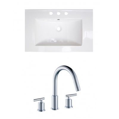 24.25-in. W 3H8-in. Ceramic Top Set In White Color- CUPC Faucet Incl.