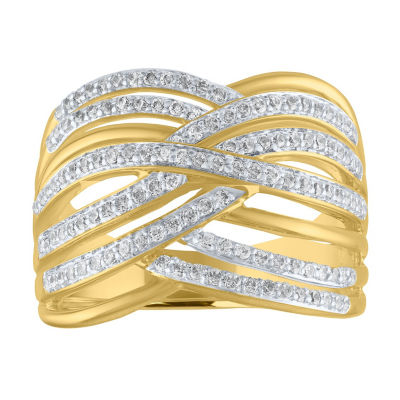Womens 1/2 CT. T.W. Genuine White Diamond 14K Gold Over Silver Crossover Cocktail Ring