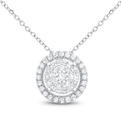 Womens 1/4 CT. T.W. White Diamond 14K White Gold Pendant Necklace