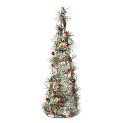 North Pole Trading Co. 20 Inch LED Vine Berry Flocked Tabletop Tree