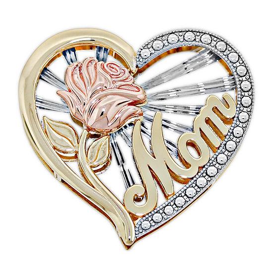 Womens 14K Tri-Color Gold Heart Pendant