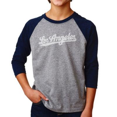 Los Angeles Pop Art Boy's Raglan Baseball Word Art T-shirt - LOS ANGELES NEIGHBORHOODS