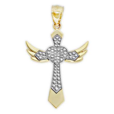 Womens 14K Two Tone Gold Cross Pendant