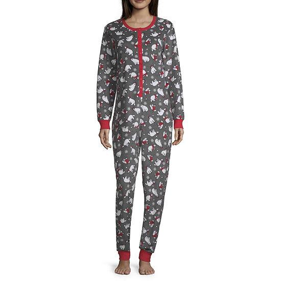 Peace Love And Dreams Womens Juniors Plush Onesie Pajama Long Sleeve