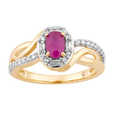 Womens 1/4 CT. T.W. Lead Glass-Filled Red Ruby 10K Gold Cocktail Ring