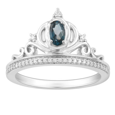 "Enchanted Disney Fine Jewelry Genuine Blue Topaz & 1/10 C.T. T.W. Diamond Sterling Silver ""Cinderella"" Ring"