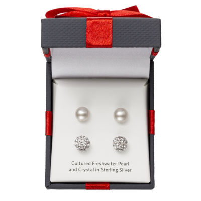 Limited Time Special! 2 Pair Cultured Pearl & Crystal Sterling Silver Earring Set