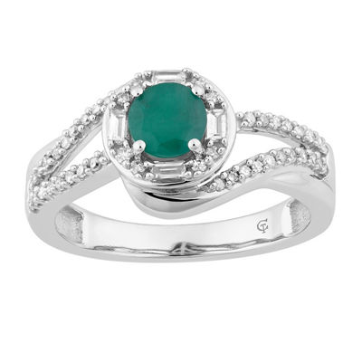 Womens 1/4 CT. T.W. Green Emerald 10K Gold Cocktail Ring