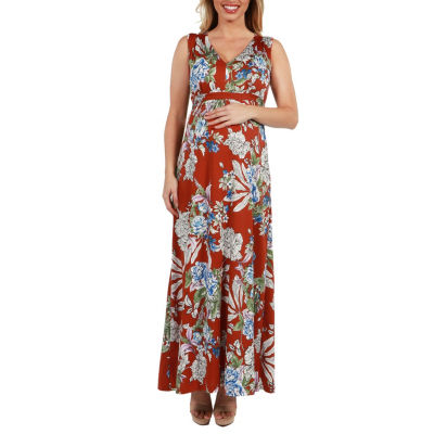 24Seven Comfort Apparel Tria Sleeveless Floral Maternity Maxi Dress - Plus