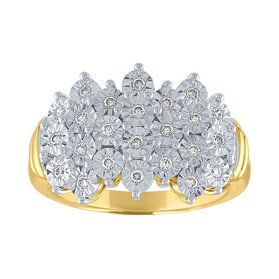Womens 1/4 CT. T.W. Genuine White Diamond 14K Gold Over Silver Sterling Silver Cocktail Ring