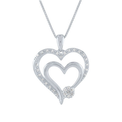 Diamond Blossom Womens 1/10 CT. T.W. Genuine White Diamond Sterling Silver Heart Pendant Necklace