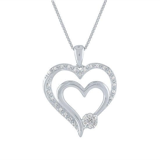 Diamond Blossom Womens 1/10 CT. T.W. Genuine White Diamond Sterling Silver Heart Pendant Necklace