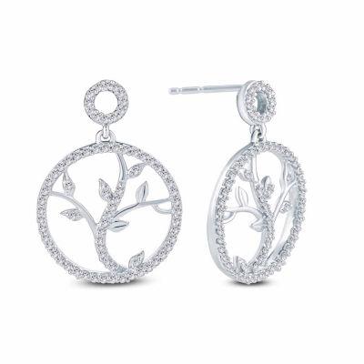 1/4 CT. T.W. Genuine White Diamond 10K Gold 18.5mm Stud Earrings