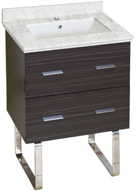 23.75-in. W Floor Mount Dawn Grey Vanity Set For 1Hole Drilling Bianca Carara Top White UM Sink